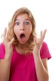 Ritratto della ragazza che sembra sorpresa Fotografie Stock Libere da Diritti