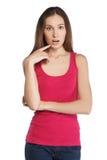 Ritratto della ragazza con il puntatore Immagine Stock Libera da Diritti