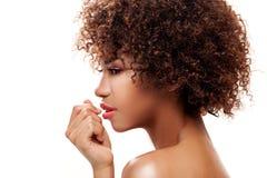Ritratto della ragazza con l'afro Immagini Stock Libere da Diritti