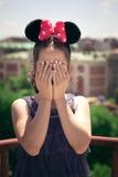 Ritratto della ragazza con le orecchie di Minnie fotografia stock libera da diritti