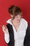 Ritratto della ragazza con un sigaro Fotografie Stock