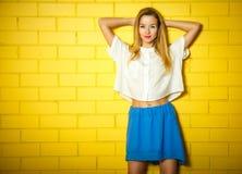Ritratto della ragazza d'avanguardia dei pantaloni a vita bassa al muro di mattoni Fotografia Stock