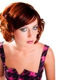 Ritratto della ragazza dai capelli rossa attraente isolata Fotografia Stock Libera da Diritti