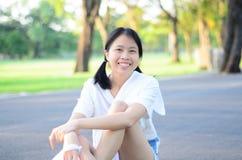 Ritratto della ragazza del bambino del bambino al parco Bangkok Tailandia di Wachirabenchatat fotografie stock libere da diritti