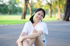 Ritratto della ragazza del bambino del bambino al parco Bangkok Tailandia di Wachirabenchatat immagini stock libere da diritti