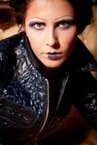 Ritratto della ragazza del vampiro con trucco drammatico Fotografie Stock