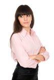 Ritratto della ragazza di affari con le braccia attraversate Immagini Stock