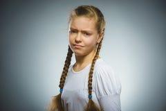 Ritratto della ragazza di offesa Emozione umana negativa fotografie stock libere da diritti