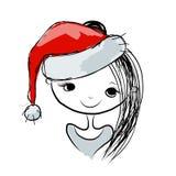 Ritratto della ragazza di Santa, schizzo per la vostra progettazione Fotografia Stock