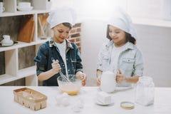 Ritratto della ragazza e del ragazzo che cucinano alla cucina immagine stock
