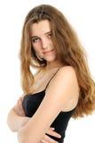 Ritratto della ragazza felice con capelli lunghi immagine stock libera da diritti