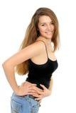 Ritratto della ragazza felice con capelli lunghi immagini stock libere da diritti