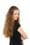 Ritratto della ragazza felice con capelli lunghi fotografia stock