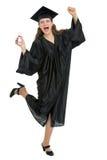 Ritratto della ragazza felice di graduazione con il diploma Immagini Stock Libere da Diritti