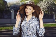 Ritratto della ragazza nel cappello Immagine Stock Libera da Diritti