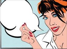 Ritratto della ragazza in Pop art di stile, arte per i libri di fumetti, schizzo, carta, invito di modo Ritratto grazioso di sign Fotografia Stock Libera da Diritti