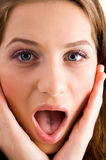 Ritratto della ragazza sorpresa Fotografie Stock Libere da Diritti