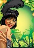Ritratto della ragazza sorridente con una piuma al partito Immagini Stock Libere da Diritti