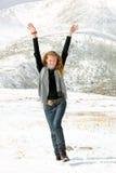 Ritratto della ragazza su una neve Fotografia Stock Libera da Diritti