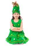 Ritratto della ragazza sveglia asiatica in costume dell'ALBERO DI NATALE Fotografia Stock