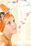 Ritratto della ragazza teenager in vestito orientale Immagini Stock Libere da Diritti