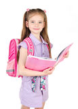 Ritratto della scolara sorridente con il libro e lo zaino Immagine Stock Libera da Diritti