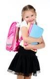 Ritratto della scolara sorridente con lo zaino Fotografia Stock Libera da Diritti