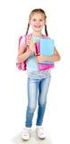 Ritratto della scolara sorridente con lo zaino Immagine Stock Libera da Diritti