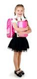 Ritratto della scolara sorridente con lo zaino Fotografia Stock