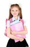Ritratto della scolara sorridente in uniforme con lo zaino Immagini Stock