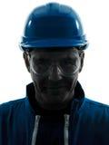 Ritratto della siluetta del workwear della costruzione dell'uomo Fotografie Stock Libere da Diritti