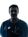 Ritratto della siluetta dell'uomo di medico Fotografia Stock Libera da Diritti