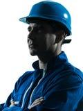 Ritratto della siluetta di profilo dell'operaio dell'uomo Fotografia Stock