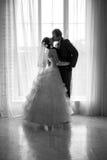 Ritratto della siluetta di una sposa e di uno sposo Fotografie Stock Libere da Diritti
