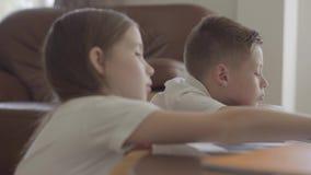 Ritratto della sorella e dei suoi taccuini sfogliare gemellati del fratello stanco con compito esaurito dopo scuola stock footage