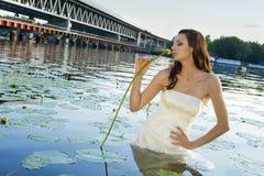 Ritratto della sposa in acqua Fotografia Stock