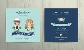 Ritratto della sposa e dello sposo del fumetto di tema della spiaggia della carta dell'invito di nozze Immagini Stock