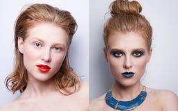 Ritratto della stessa ragazza con trucco differente due immagine stock libera da diritti