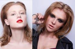 Ritratto della stessa ragazza con trucco differente due immagine stock