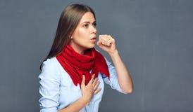 Ritratto della tosse di sofferenza della donna di malattia Fotografie Stock Libere da Diritti