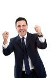 Ritratto della vittoria gridante dell'uomo di affari Fotografia Stock