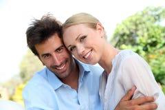 Ritratto delle coppie allegre Fotografia Stock