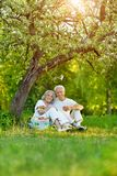 Ritratto delle coppie anziane amorose che hanno un picnic immagini stock