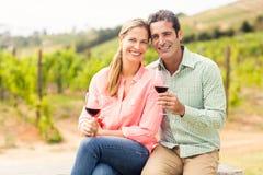Ritratto delle coppie felici che tengono i bicchieri di vino Immagini Stock Libere da Diritti