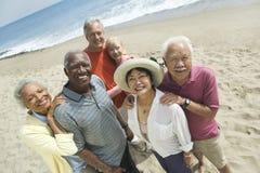Ritratto delle coppie multietniche alla spiaggia Immagini Stock