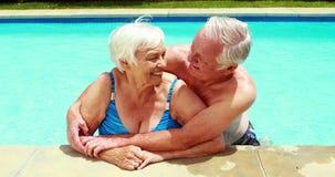 Ritratto delle coppie senior che si abbracciano in stagno stock footage