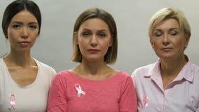 Ritratto delle donne tristi con i nastri rosa, prevenzione di cancro al seno, cattiva statistica stock footage