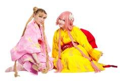 Ritratto delle ragazze di bellezza in costume cosplay del kimono Immagine Stock Libera da Diritti