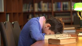 Ritratto dello scolaro che fa il loro compito e che dorme sul libro fotografie stock libere da diritti