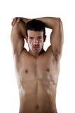 Ritratto dello sportivo senza camicia del determind che allunga le mani Fotografia Stock Libera da Diritti